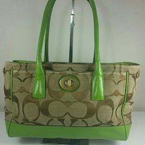Coach Hampton Madeline Tan Green Leather Bag